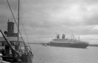 Red Funnel Paddle Steamer Princess Elizabeth and SS America at Southampton