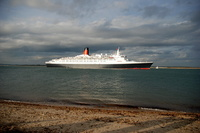Queen Elizabeth 2 Passenger Cruise Ship passing Calshot