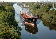 Stolt Kite approaching Latchford high level bridge Manchester Ship Canal 11/9/09