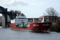 Omegagas IMO 9177959 3366gt Built 1999 LPG Tanker Flag Antiqua Barbuda at Latchford Locks 28/3/10