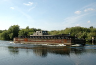 Barge Halton passing Thelwall Ferry