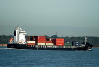 DS Blue Wave IMO 9341988 7545gt Built 2007 Container Ship arriving from the west