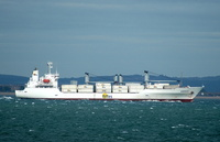 Emerald IMO 9202857 10532gt Built 2000 Refrigerated Cargo Ship departing Portsmouth