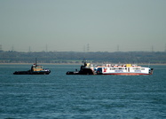 Cowes Floating Bridge being towed back after annual inspection