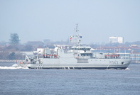 HNOMS Hinnoey(M343) departing Liverpool 9th April 2013