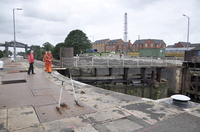 Latchford Lock gates stuck... Arklow Field approaching