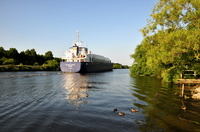 Alana Evita passing Thelwall ferry 7th July 2013