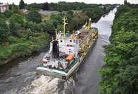 Sospan Dau  on the Manchester Ship Canal 31st July 2013