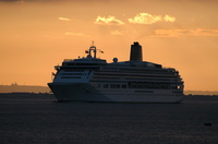 Aurora passing cowes at Dawn