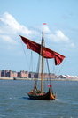 Draken Harald Hårfagre sails into the Mersey