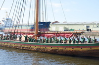 Draken Harald Hårfagre Crew wave goodbye 4th August 2014