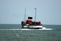 PS Waverley  aborts docking Llandudno Pier due to weather conditions