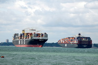 MSC Vega & APL Gwangyang passing at Fawley