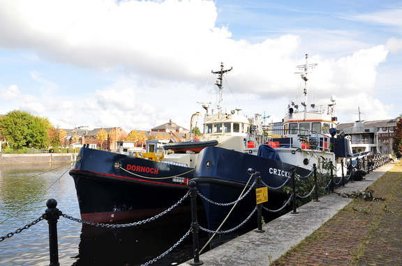 Dornoch & Cricklade moored at Clippers Quay