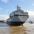 RFA Orangeleaf swinging into the Mersey