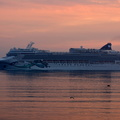 Norwegian Jade arriving at sunrise