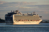 Crown Princess arriving at daybreak