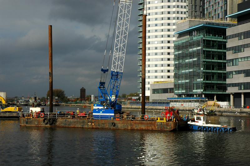 Construction of new bridge near Imperial Museum Salford Quays