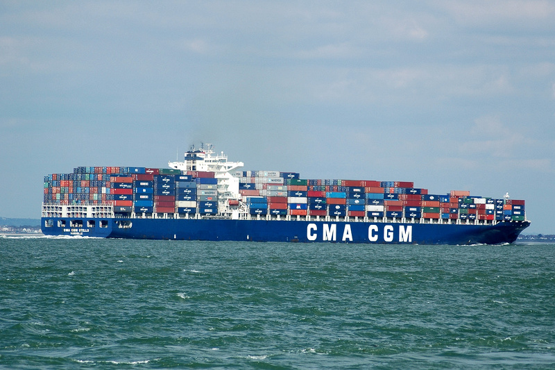CMA CGM Otello  IMO 9299628 91410gt Built 2005 Container Ship Flag Kerguelen Isles passing Cowes outbound
