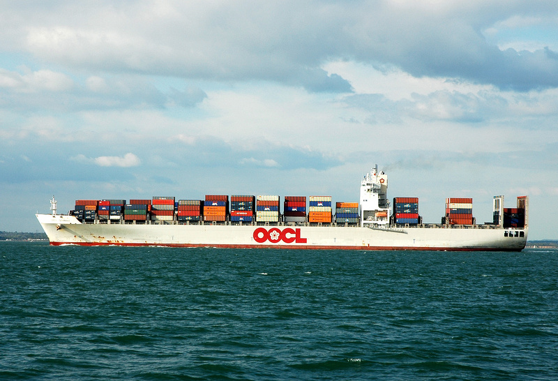 OOCL Germany off Cowes Isle of Wight