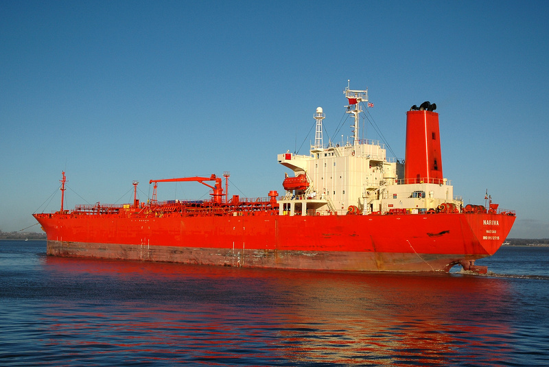 Nariva IMO 9172715 20573gt Built 1998 Chemical/Oil Products Tanker departing Eastham 9th January 2011
